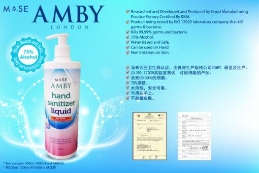 Amby London Hand Sanitizer Liquid (Alcohol) - 500ml